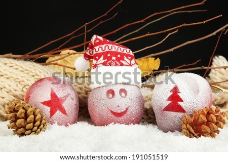 Holiday apples with frosted drawings in snow on black background - stock photo