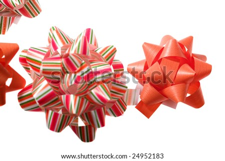 holiday background - colored bow isolated on white