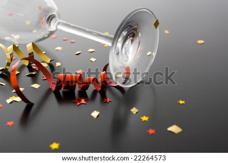 Holiday background, flute and ribbons - stock photo