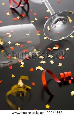 Holiday background, flutes and ribbons - stock photo