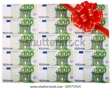 Holiday background of euro with red bow. - stock photo