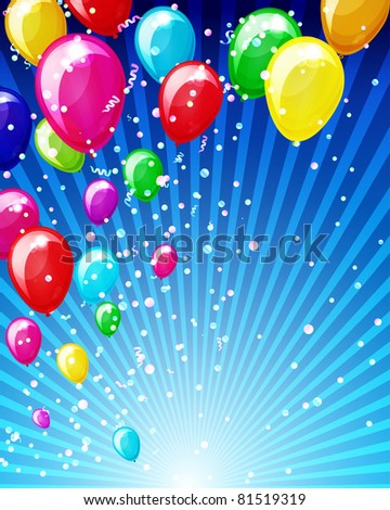 Holiday background with balloons and confetti. - stock photo