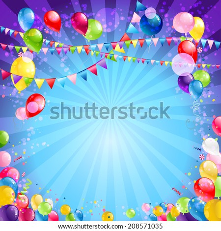 Holiday background with balloons.  Place for text. Raster version. - stock photo