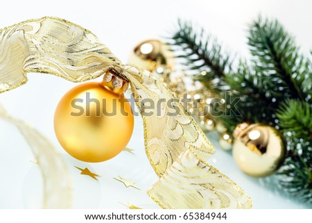 Holiday background with Balls and golden ribbon