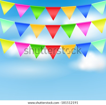 Holiday background with birthday flags - stock photo