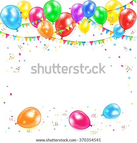 Holiday background with colorful balloons, pennants, tinsel and confetti, illustration. - stock photo