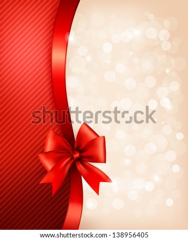 Holiday background with gift glossy bow and ribbon, raster version.