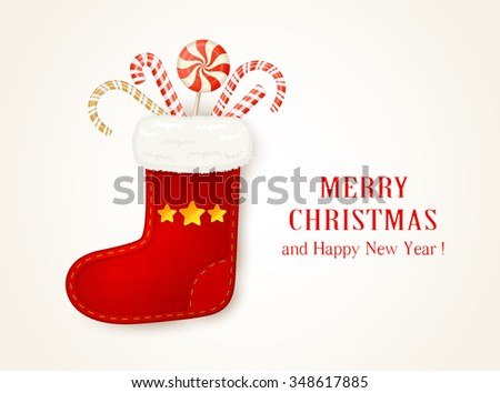 Holiday background with red Christmas sock and candy canes, illustration.