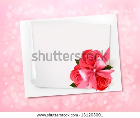 Holiday background with sheet of paper and red flowers. Raster version. - stock photo