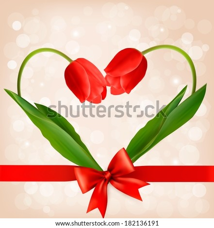 Holiday background with two flowers in a shape of a heart. Raster version. - stock photo