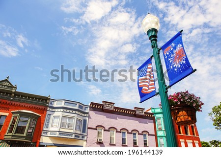Holiday banners on Main street - stock photo