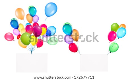 Holiday banners with colorful balloons isolated on white - stock photo