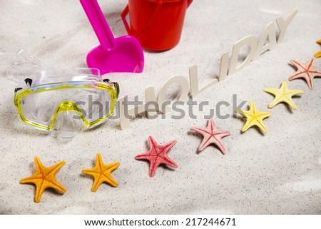 Holiday beach background - stock photo