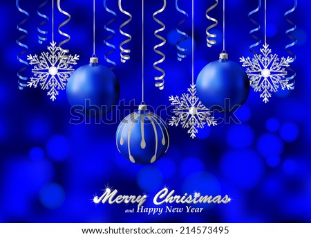 Holiday blue background with silver Christmas ornaments. Christmas background decorated with glass balls, snowflakes and paper streamers. Vector. - stock photo