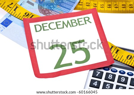 Holiday Budget is Tight Concept with Christmas Calendar Page, Money, Calculator and Measuring Tape.