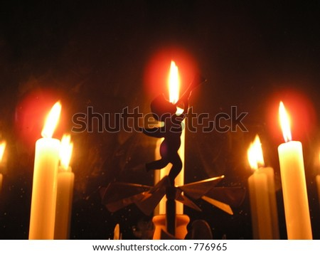 holiday candles and angel - stock photo