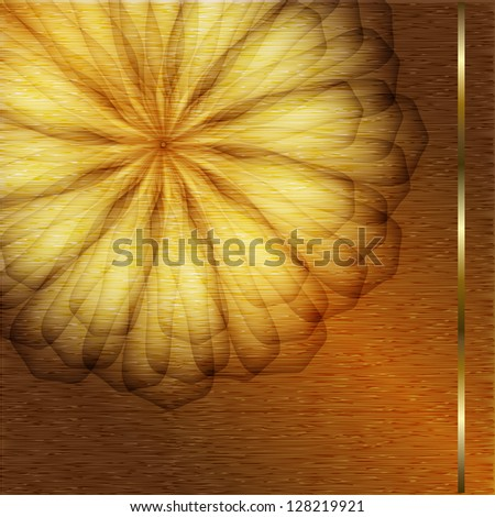 Holiday card with gold flower. Raster copy of vector image