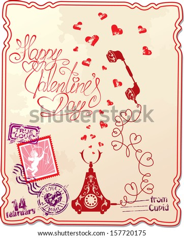 Holiday card with hand written text Happy Valentine`s Day with retro telephone, hearts and stamp in vintage style.  Raster version - stock photo
