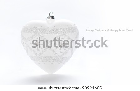 Holiday card with white heart - stock photo