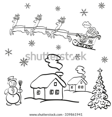 Holiday Cartoon, Santa Claus Flying in a Snowy Sky in a Sleigh with Reindeer on a Landscape with Christmas Tree, a Snowman and Houses. Black Contours on White Background.  - stock photo