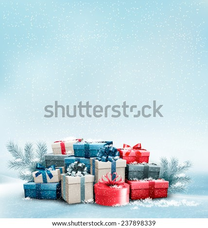 Holiday Christmas background with gift boxes.  - stock photo