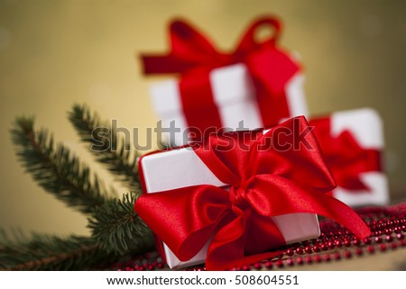 Holiday Christmas background with stack of presents