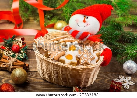 Holiday. Christmas gingerbread cookies and stollen cake collage - stock photo