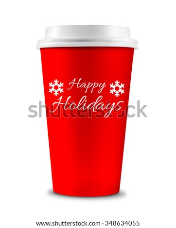 Holiday Coffee Cup Isolated on a white background