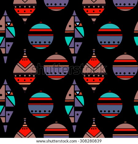 Holiday colorful Christmas seamless pattern with balls. New Year ornament. Cloth design. Wallpaper - stock photo