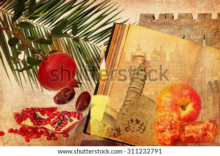 Holiday composition of Rosh HaShana (Judaic New year) on textured old paper with Jerusalem historical architecture and traditional food for holiday - apple, pomegranate, date fruit.Textured collage - stock photo