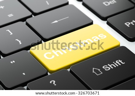 Holiday concept: computer keyboard with word Christmas, selected focus on enter button background, 3d render - stock photo