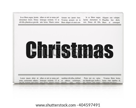 Holiday concept: newspaper headline Christmas on White background, 3D rendering - stock photo