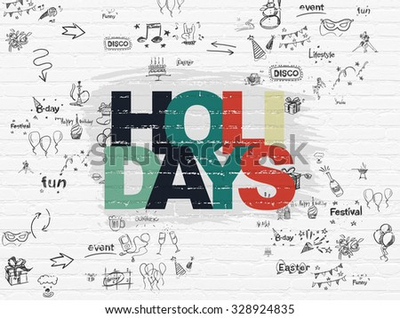 Holiday concept: Painted multicolor text Holidays on White Brick wall background with Scheme Of Hand Drawn Holiday Icons - stock photo