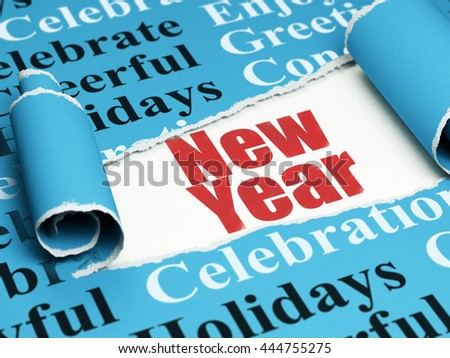 Holiday concept: red text New Year under the curled piece of Blue torn paper with  Tag Cloud, 3D rendering - stock photo