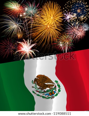 Holiday concept with fireworks and waving Mexican flag - stock photo