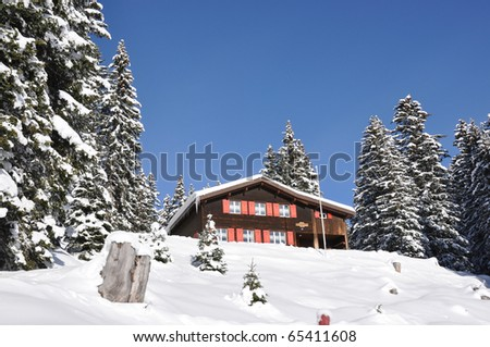 Holiday cottage in Braunwald, famous Swiss skiing resort - stock photo