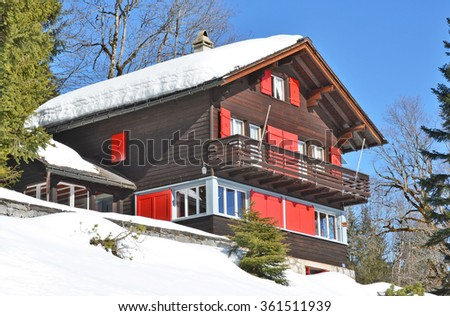 Holiday cottage in Switzerland - stock photo