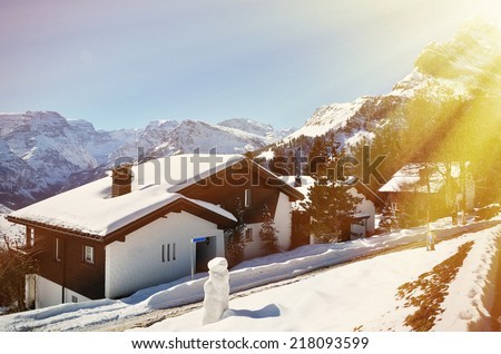 Holiday cottages in Braunwald, Switzerland - stock photo