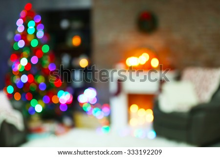 Holiday decorated room with Christmas tree, out of focus shot for photo background - stock photo