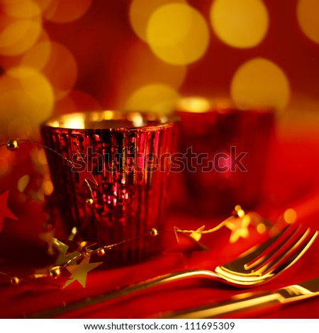 Holiday Dining with candle light - stock photo