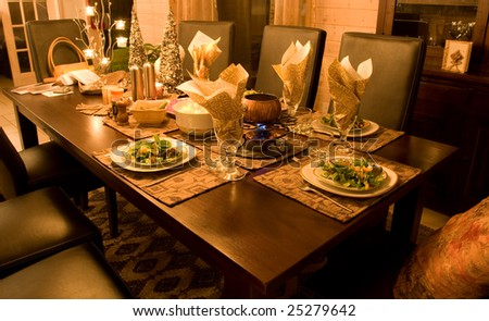 Holiday Dinner Table - stock photo