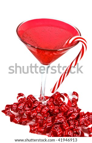 holiday drink with candy cane