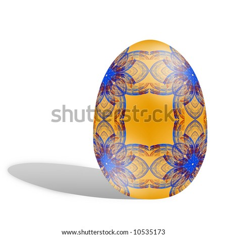 Holiday Easter Egg isolated on white background with cast shadow