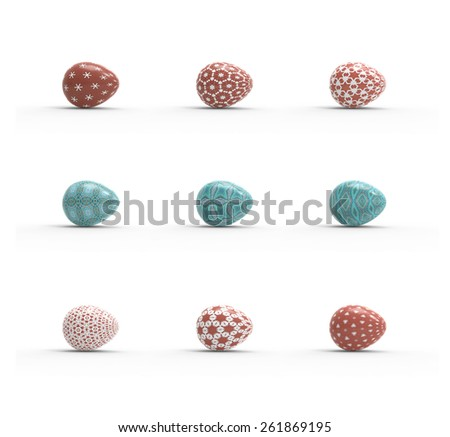 holiday easter eggs set on white background - stock photo