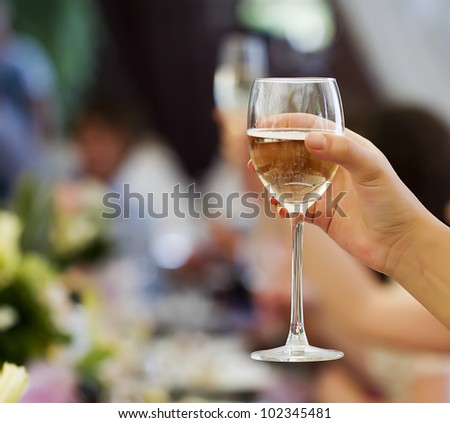 Holiday Event people cheering  with champagne and wine - stock photo