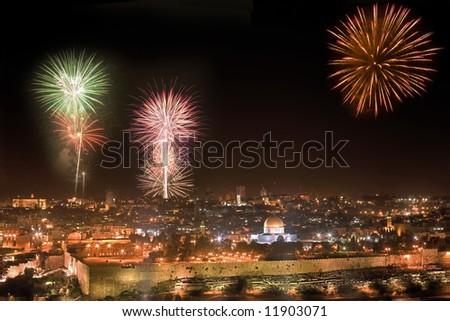 Holiday firework in Jerusalem. - stock photo