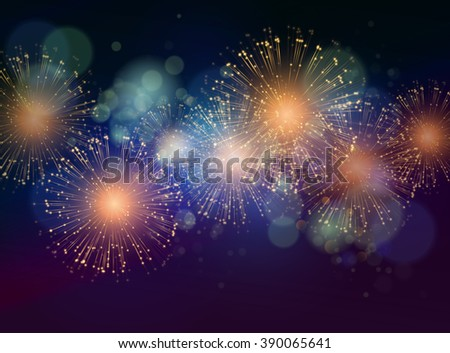 Holiday Fireworks Background. Independence Day fireworks. Color fireworks on dark background - stock photo