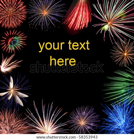 holiday fireworks with free text space - stock photo