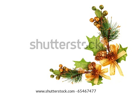Holiday frame border with Christmas tree branch ornament  as winter decoration isolated on white background