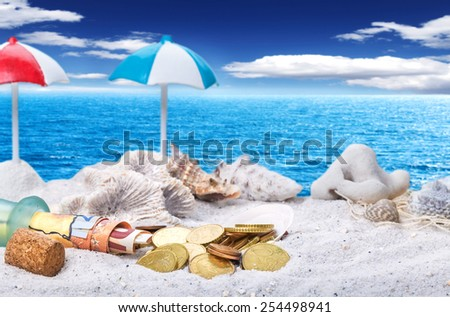 Holiday Fund, beach - stock photo